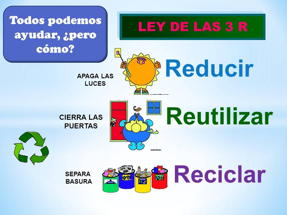 Resultado de imagen de uso de las 3 r reducir reutilizar y reciclar